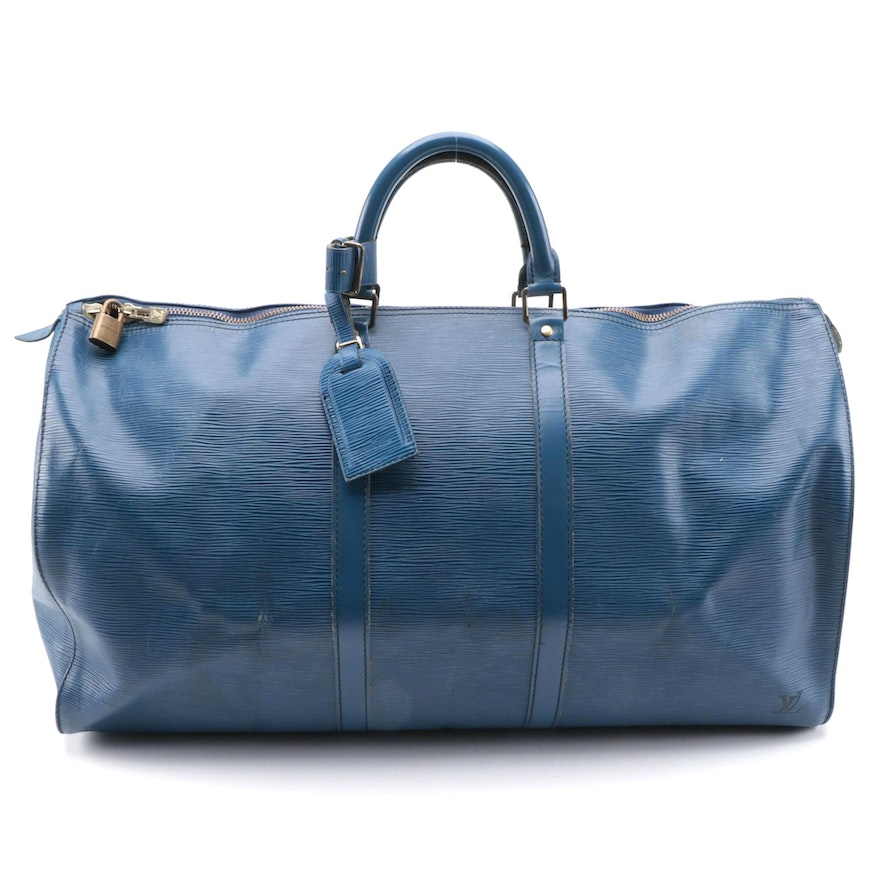 Modified Louis Vuitton Keepall 55 in Toledo Blue Epi Leather and Smooth Leather