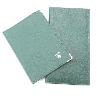 Rolex Green Pebble Leather Card Case and Checkbook Wallet with Notepad Insert
