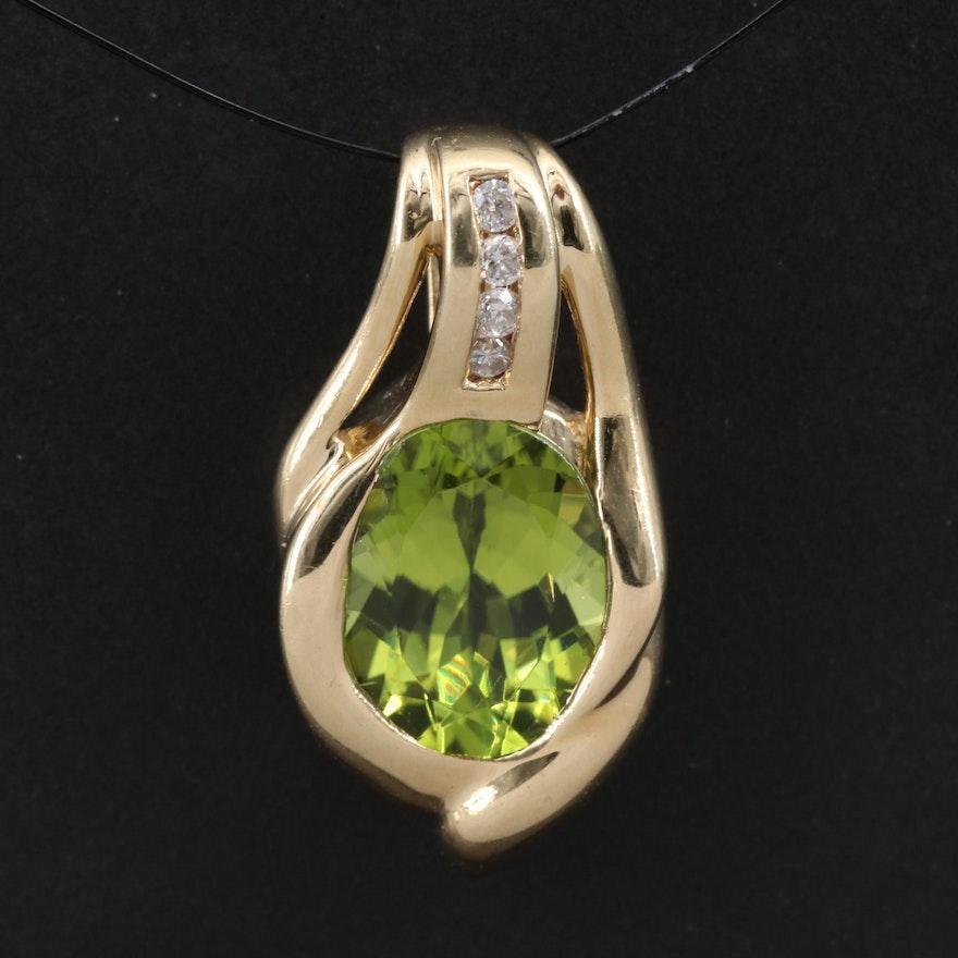 10K Peridot and Diamond Pendant
