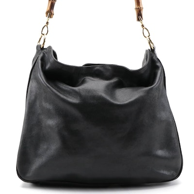 Gucci Black Grained Leather Hobo Shoulder Bag with Bamboo Handle