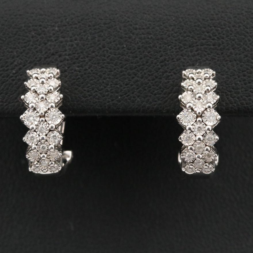 EFFY Sterling Diamond J-Hoop Earrings