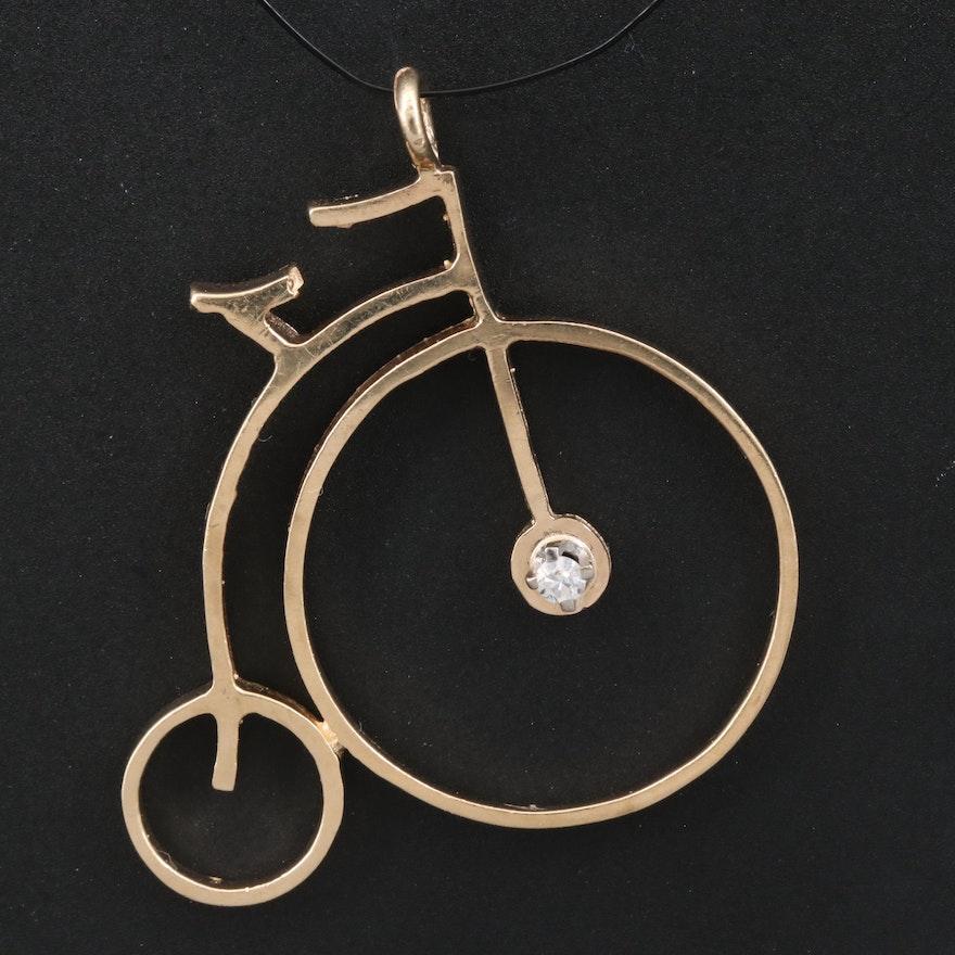 14K Diamond Penny-Farthing Pendant