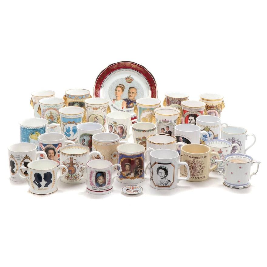 Caverswall English Royalty Commemorative Mugs and Veritable Plate