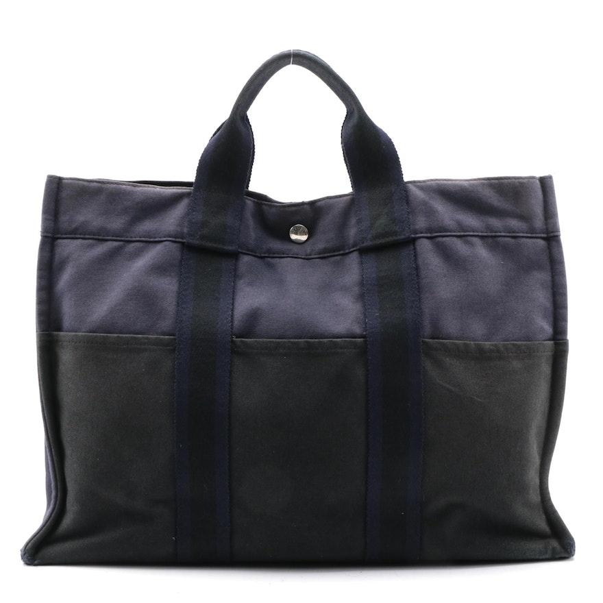 Hermès Fourre Tout PM Tote in Dark Navy/Black Cotton Canvas