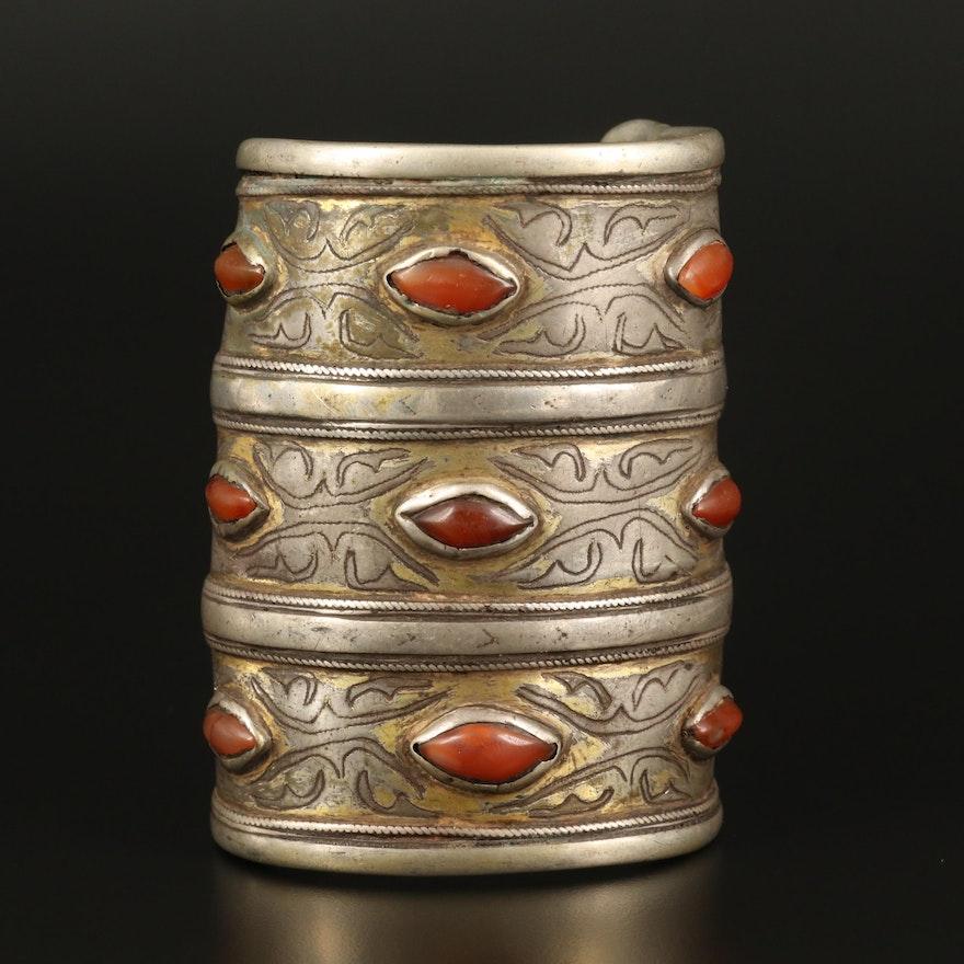 Antique Turkmen 800 Silver Carnelian Bracer