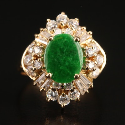 18K Jadeite and Cubic Zirconia Ring