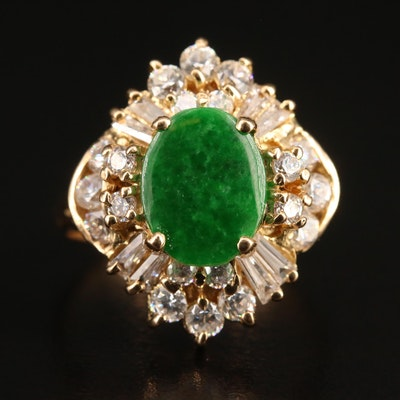 18K Jadeite and Cubic Zirconia Ring