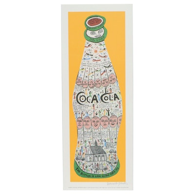 "Howard Finster Offset Lithograph ""Coca Cola"""