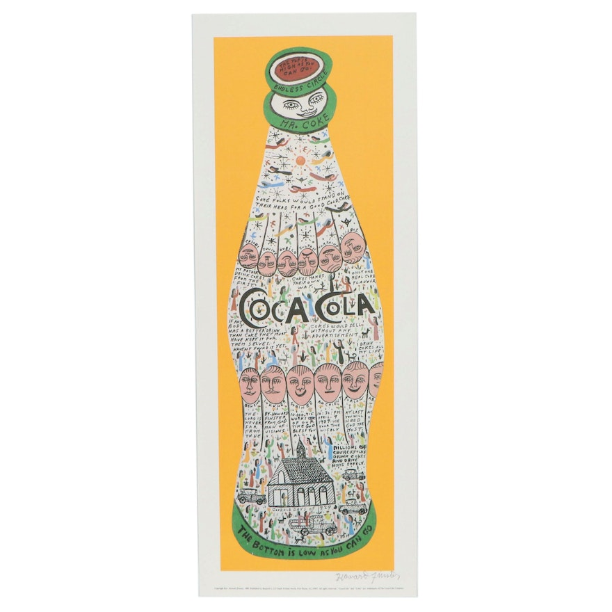 """Howard Finster Offset Lithograph """"Coca Cola"""""""