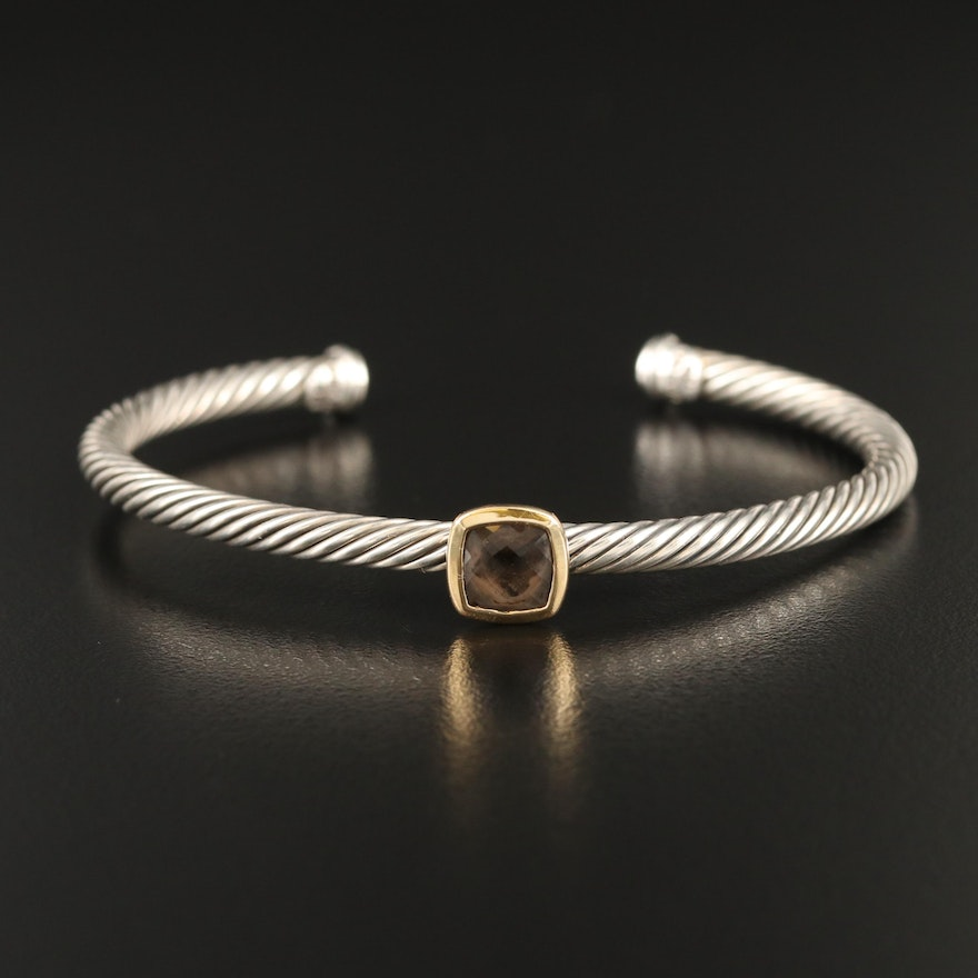 David Yurman Sterling Smoky Quartz Cable Cuff with 18K Accents