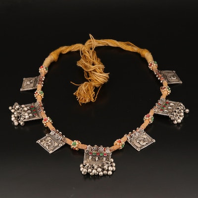 Vintage Indian 800 Silver Rajasthani Amulet Necklace