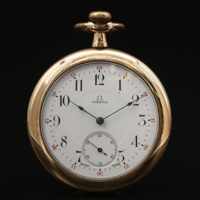 Vintage Omega Pocket Watch Movement In Gold Filled Illinois Case