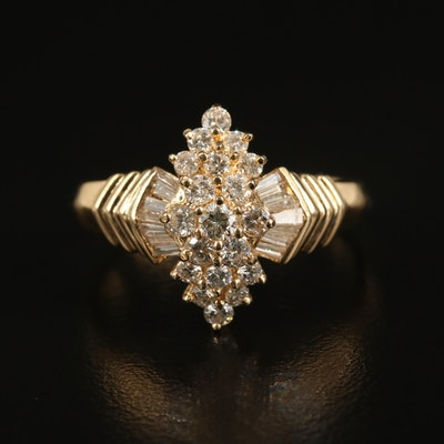 18K 1.07 CTW Diamond Tiered Cluster Ring