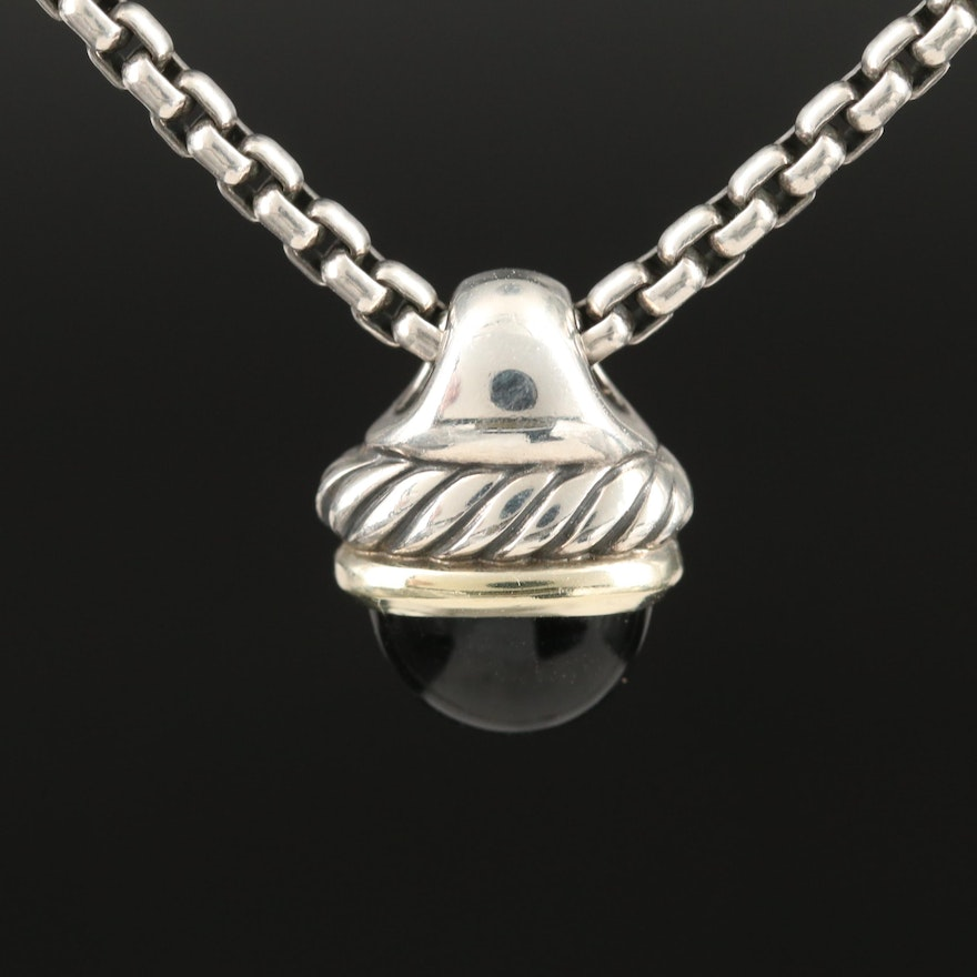 """David Yurman """"Acorn"""" Sterling Black Onyx Necklace with 14K Accents"""
