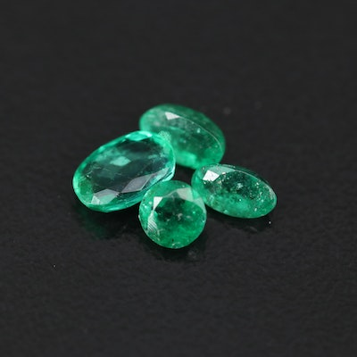 Loose 1.26 CTW Round and Oval Faceted Emeralds