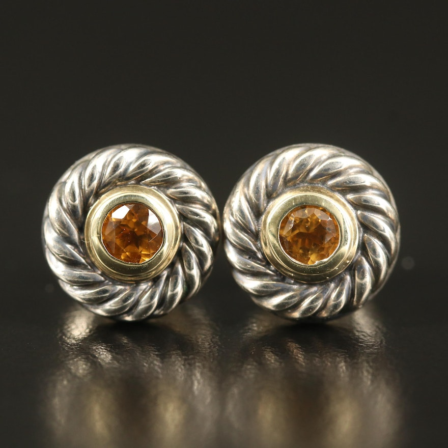 David Yurman Sterling Citrine Stud Earrings with 14K Bezel Accent