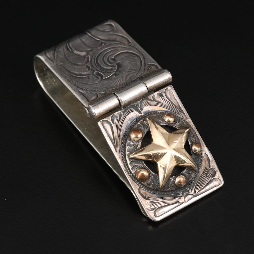 Vogt Sterling Silver Engraved Money Clip with Gold Filled Accents