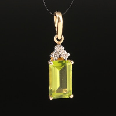 14K Peridot and Diamond Pendant