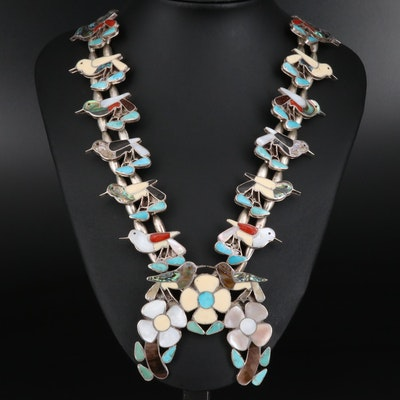Sterling Abalone and Gemstone Inlay Floral and Bird Naja Necklace