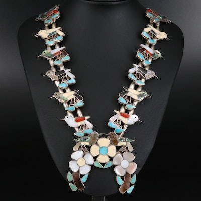 Western Sterling Abalone and Gemstone Inlay Floral and Bird Naja Necklace
