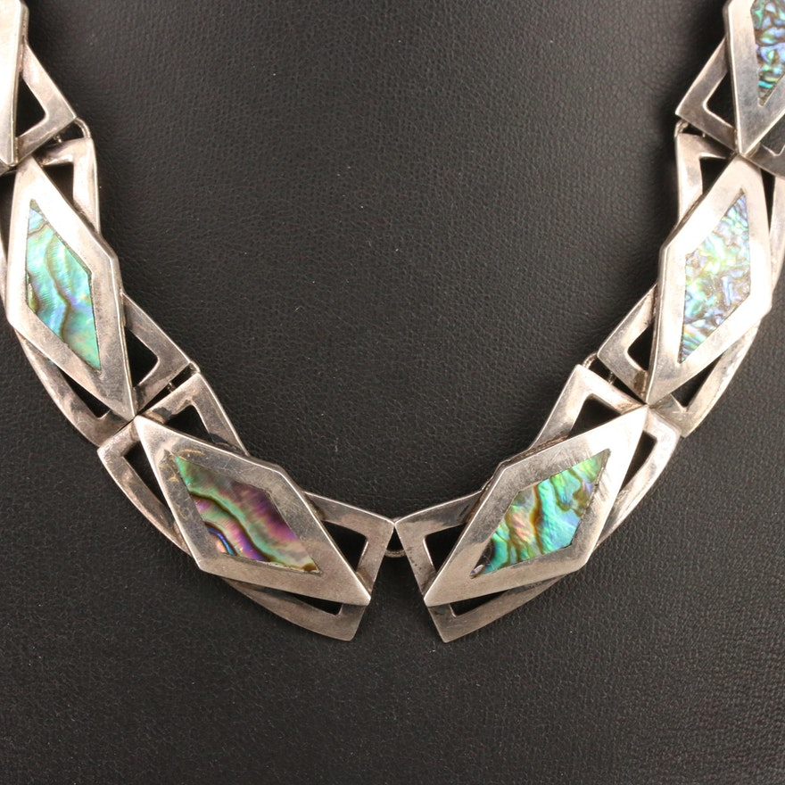 Vintage Taxco Mexico Abalone Inlay Collar Necklace