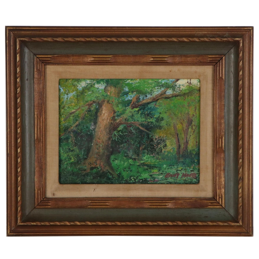 Emily Harte Forest Landscape Oil Painting, Mid-20th Century