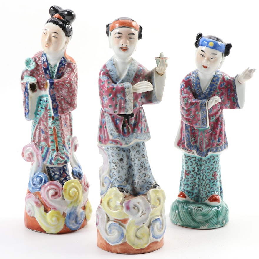 Chinese Famille Rose Immortal Figurines with Removable Hands, Early-Mid 20th C.