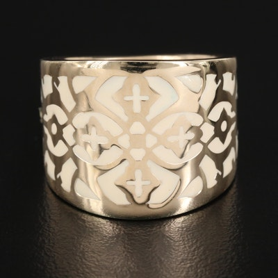 14K Enamel Tapered Band