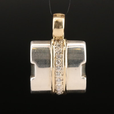 Michael Dawkins Sterling and 14K Diamond Enhancer Pendant