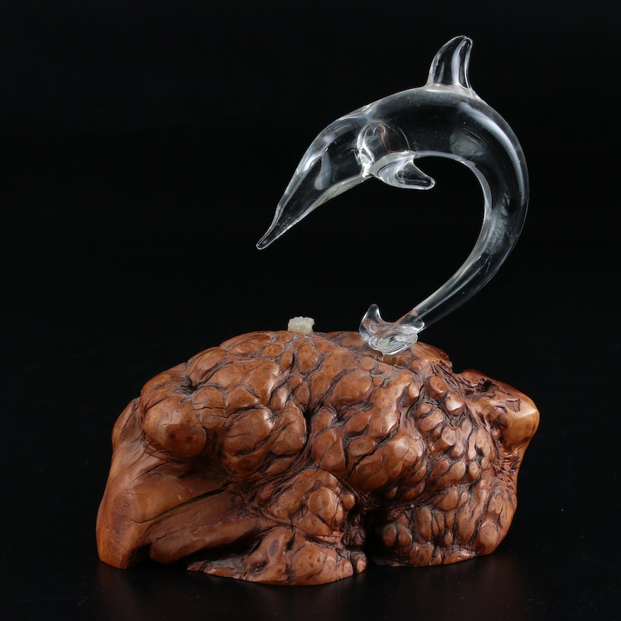 Glass Dolphin Mounted on Burled Wood Knot, Late 20th to 21st Century