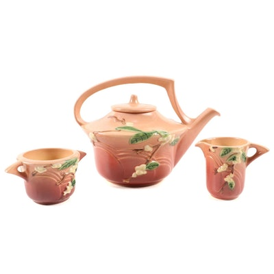 "Roseville Pottery ""Snowberry"" Dust Rose Tea Set, 1940s"