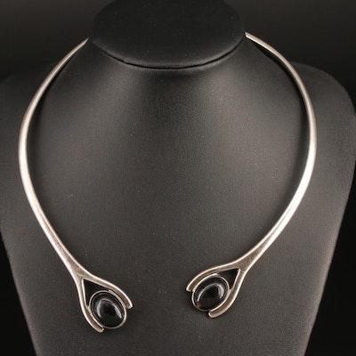Vintage Mexican Sigfrido Pineda Sterling Black Onyx Hinged Collar