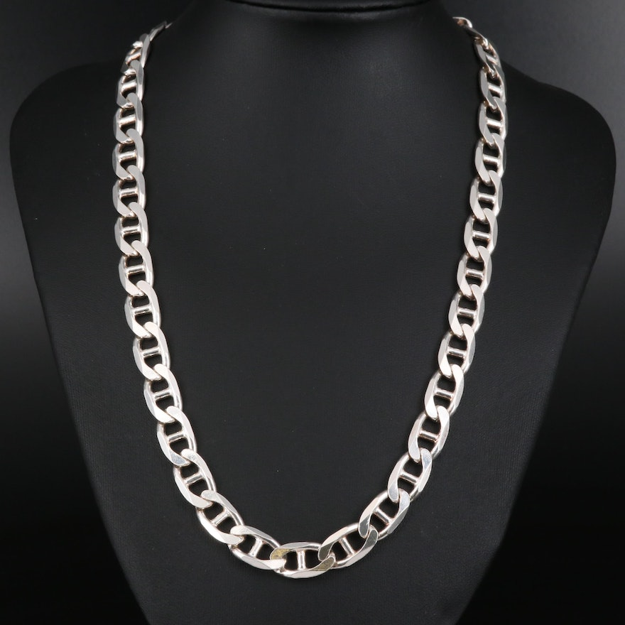 Sterling Mariner Curb Chain Necklace