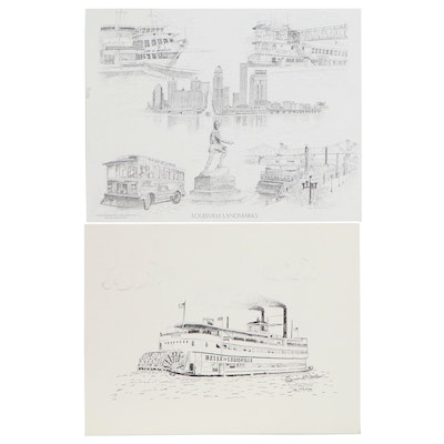 Ernest Walker and Bill Mattingly Offset Lithographs of Louisville