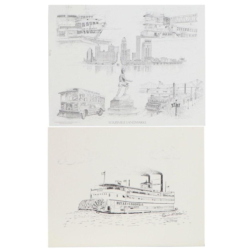 Ernest Walker and Bill Mattingly Offset Lithographs of Louisville
