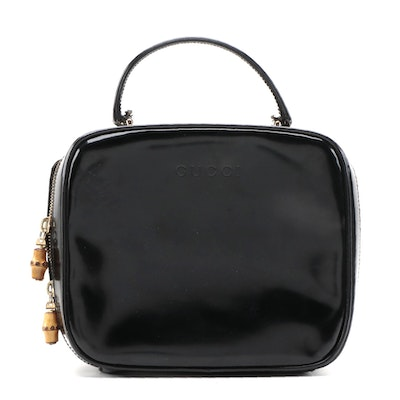 Modified Gucci Bamboo Box Bag in Black Glazed Leather