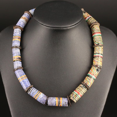 Venetian Lattachino Cane Trade Bead Necklace