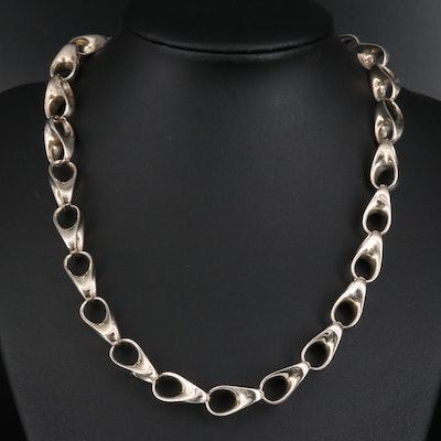 Robert Lee Morris Sterling Silver Fancy Link Necklace