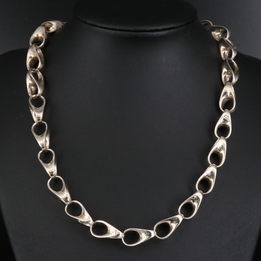 Robert Lee Morris Sterling Silver Fancy Link Necklace