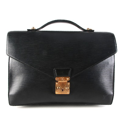 Louis Vuitton Serviette Ambassadeur Briefcase in Black Epi and Smooth Leather