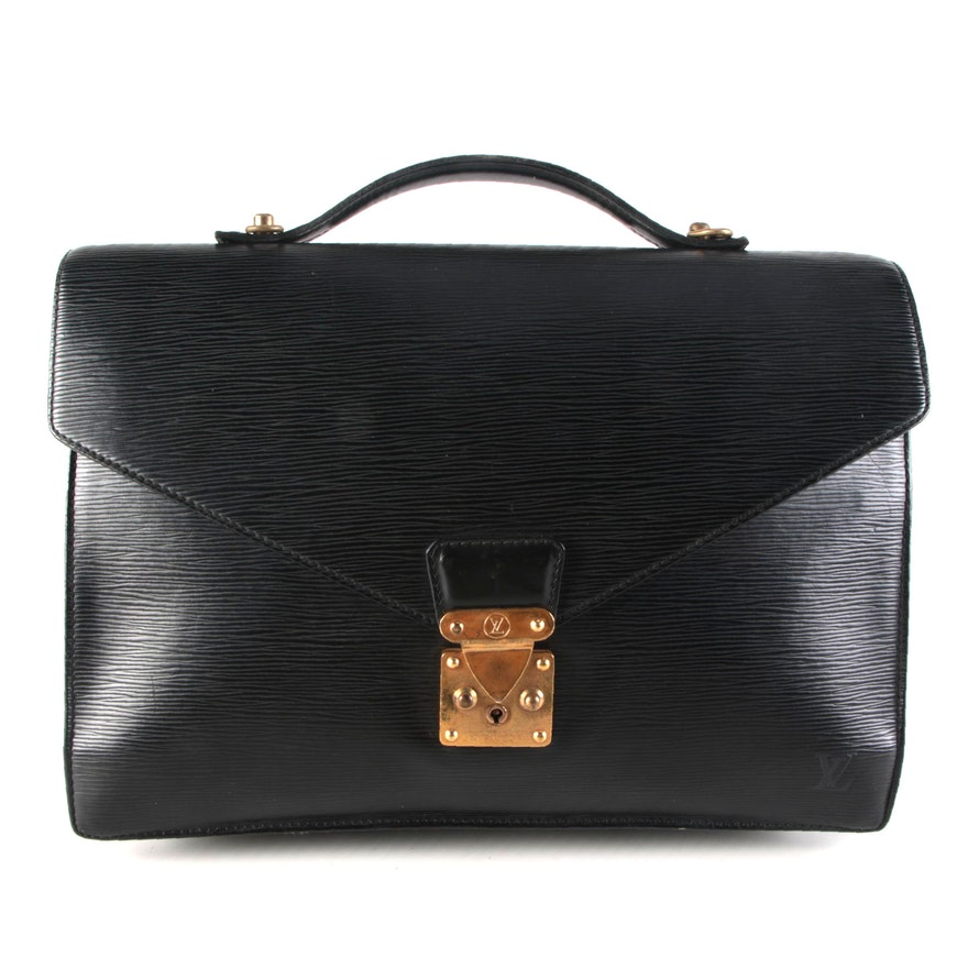 Louis Vuitton Serviette Ambassadeur Briefcase in Black Epi and Smooth Leather