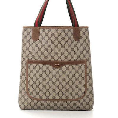 Gucci Accessory Collection GG Supreme Canvas Tote Bag with Web Stripe Straps