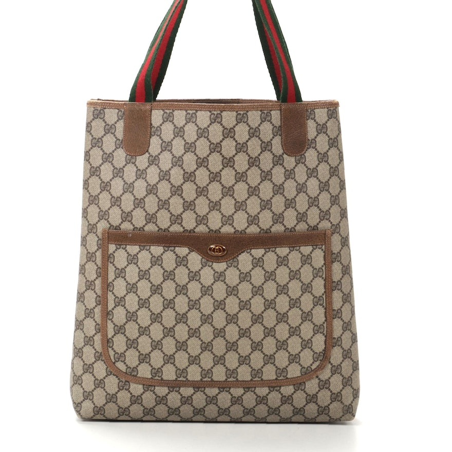 Gucci Accessory Collection GG Supreme Canvas Tote Bag with Web Stripe Straps