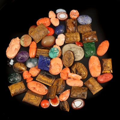 Loose Mixed Gemstones Including Coral, Tiger's Eye and Lava
