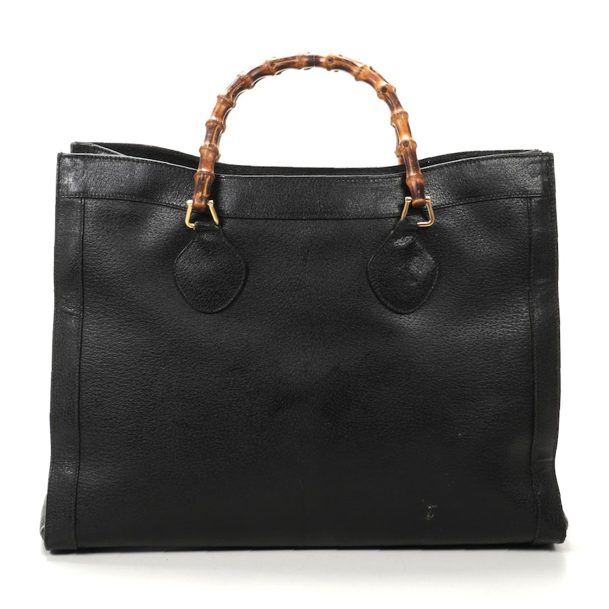Gucci Bamboo Diana Tote Bag in Black Grained Leather