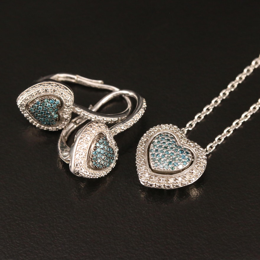 Sterling Silver Pavé Diamond Heart Earrings and Pendant Necklace Set
