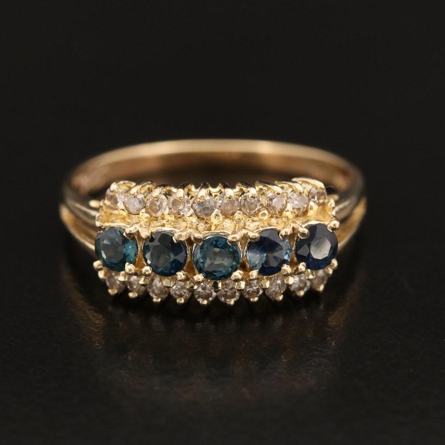 14K Sapphire and Diamond Triple Row Ring