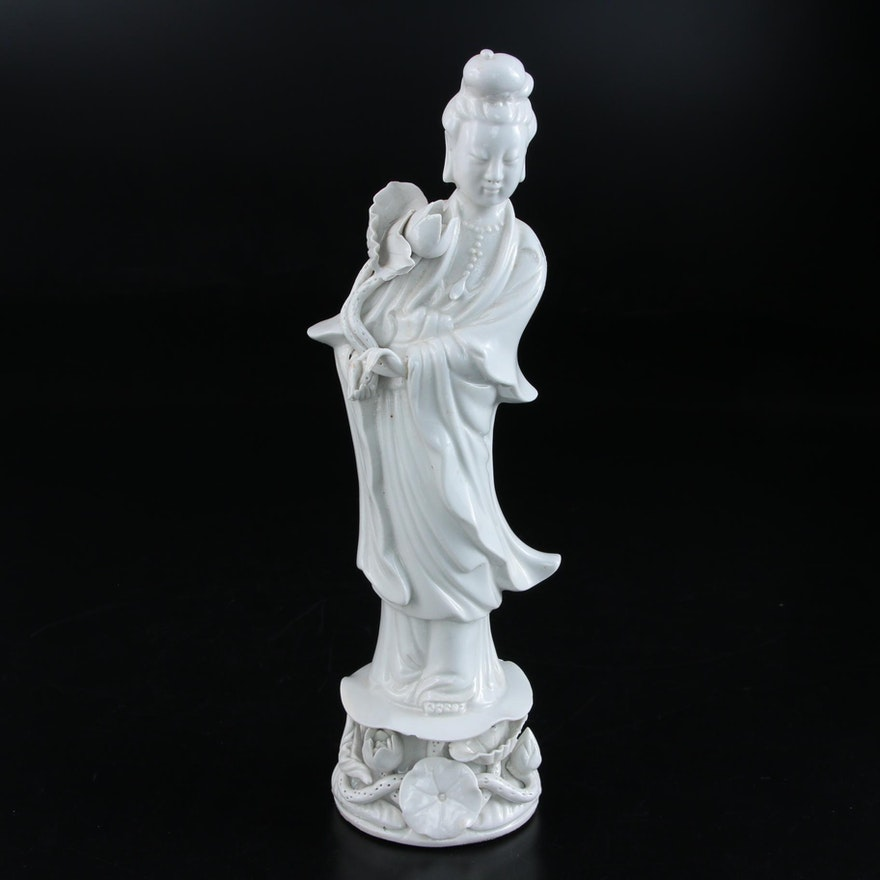 Chinese Blanc de Chine Figurine Guan Yin with Lotus, Mid-20th Century