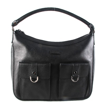 Gucci Abbey D-ring Pocket Hobo Handbag in Black Grained Calfskin Leather