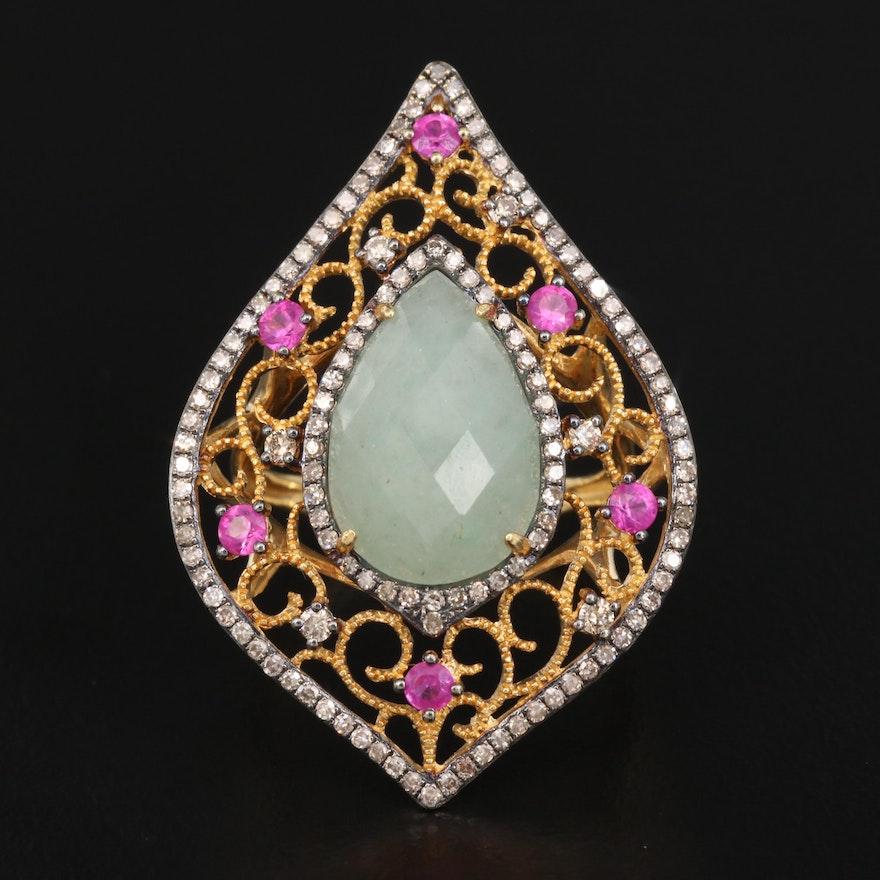 18K Aventurine, Diamond and Ruby Scrollwork Ring